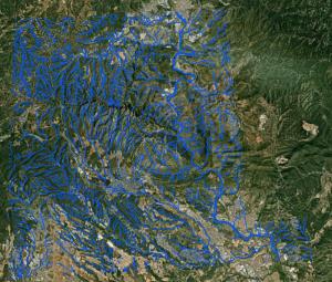 Imatge de les regions hidrològiques amb torrents complert