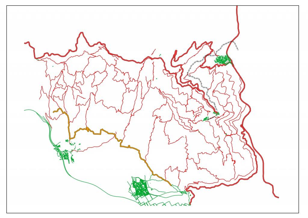 Camins principals de Ramon de Semir 1949. Dibuixat segons la cartografia actual.