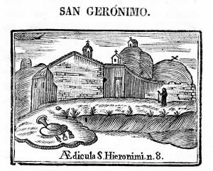 Ermita de sant Jeroni. Gravat en burí en Compendi historial (1758)