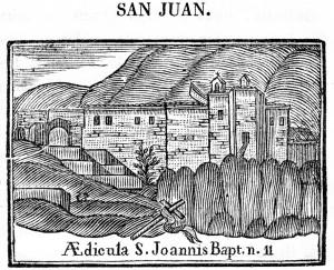 Ermita de sant Joan. Gravat al burí en Compendio historial (1758)