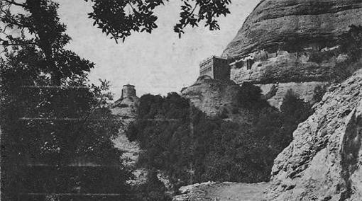 Ermita de Sant Joan. Restaurant sobre l'ermita. Postal 1927