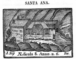 Ermita de santa Anna. Gravat en burí en Compendio historial (1758)