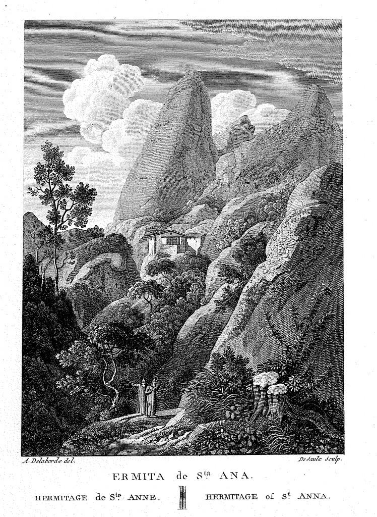 Ermita de santa Anna. Gravat d'Alexandre Laborde (1806)