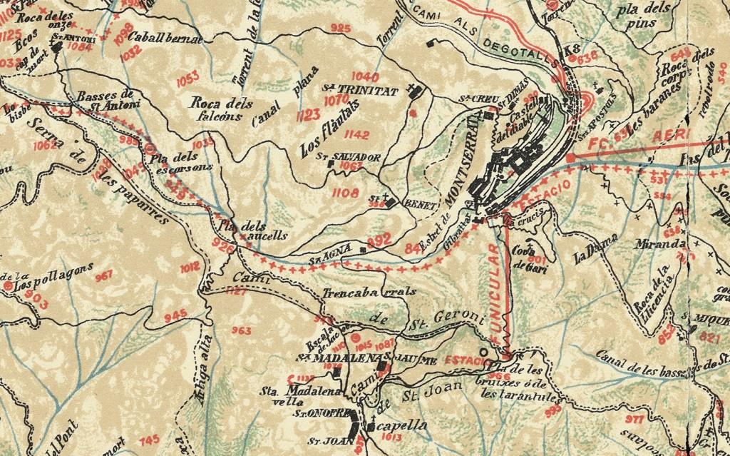 Mapa Topografic 1928 cami nou sant Jeroni