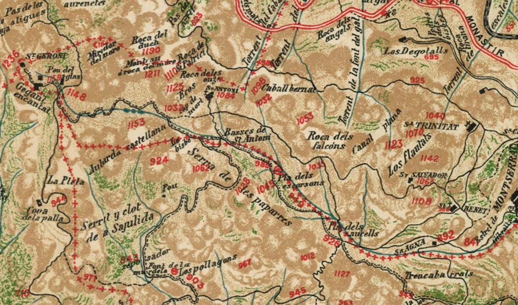 Mapa Topografich, Revista Montserratina 1909 Sant Jeroni