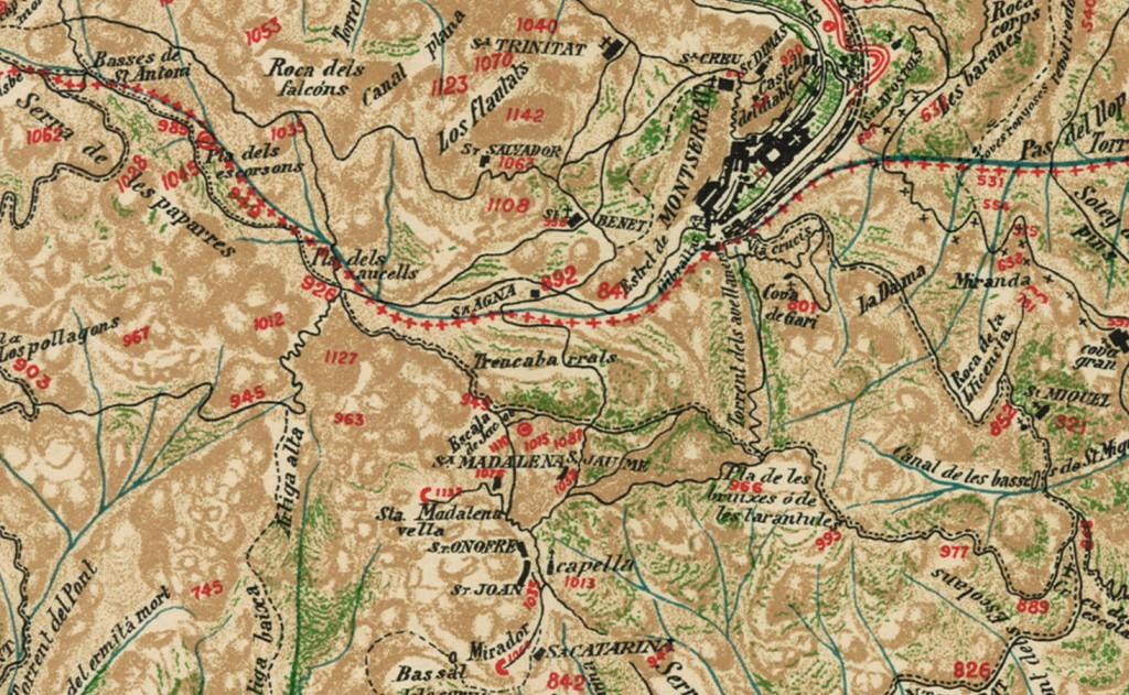 Mapa Topografich, Revista Montserratina 1909 cami antic sant Jeroni