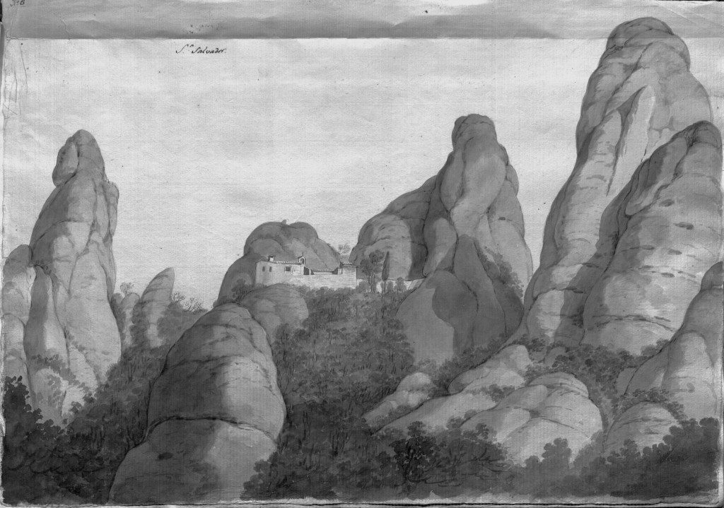 Ermita de sant Salvador. Aiguafort de Pere Pau Muntanya i Francesc Remart (1790)