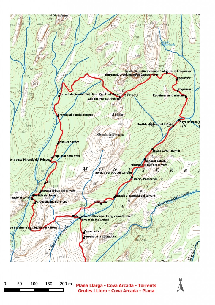 Dibuix Plana Llarga - torrnts Grutes i Lloro - Plana Llarga 4