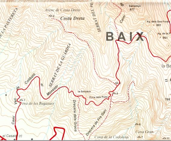 Pou de la Costa Dreta Mapa Alpina 1996