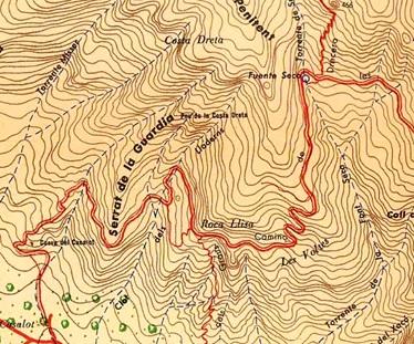 Pou de la Costa Dreta en el mapa de Ramon de Semir 1949