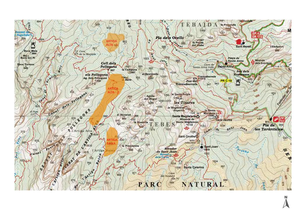 Possibles ubicacions de les Artigues entorn els Pollegons