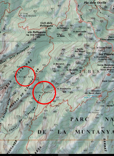 Pollegons i les Artigues. Mapa alpina 2015
