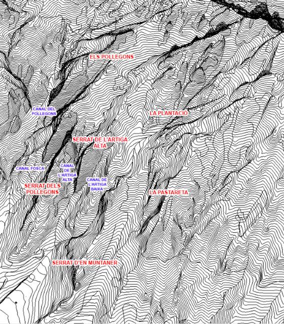 Pollegons i les Artigues. Sistema de canals i serrats segons Alpina