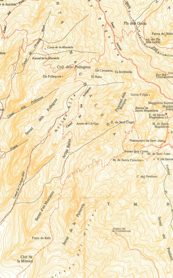 Pollegons i les Artigues. Mapa Ramon Ribera 1998