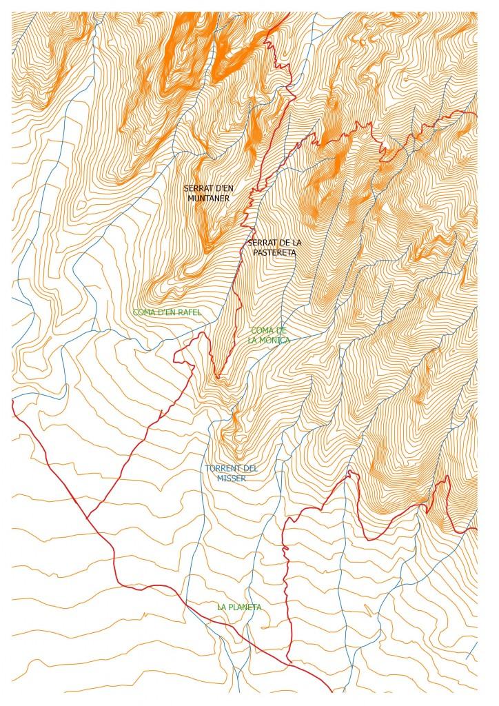 Entorn del clot de la Monica en el mapa de l'Institut Cartogràfic i Geològic de Catalunya