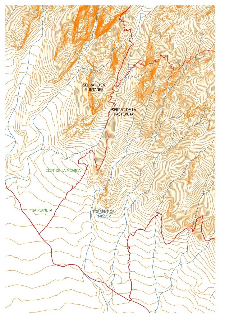 Entorn del clot de la Monica en el mapa de Ramon Ribera