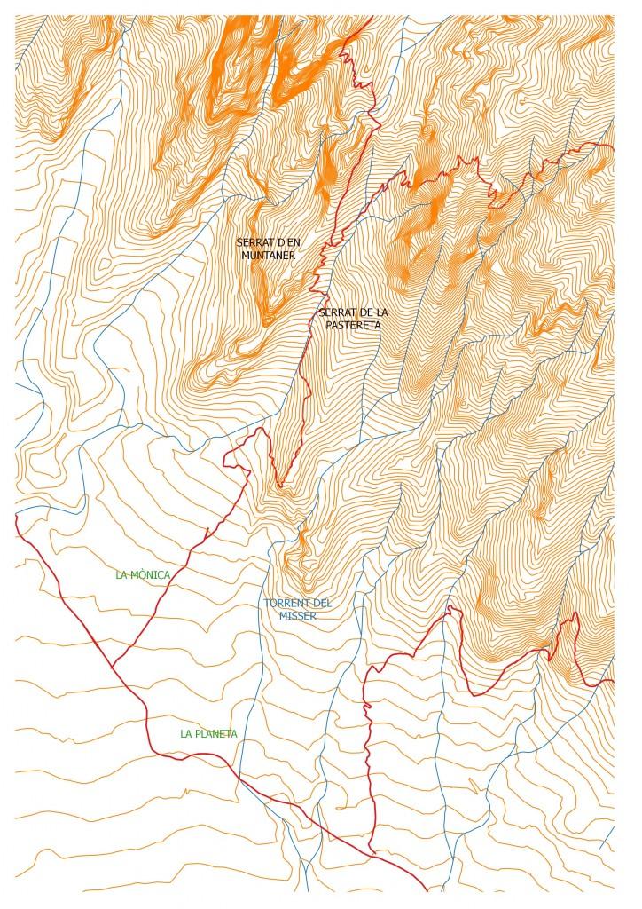Entorn del clot de la Monica en el mapa de Ramon de Semir