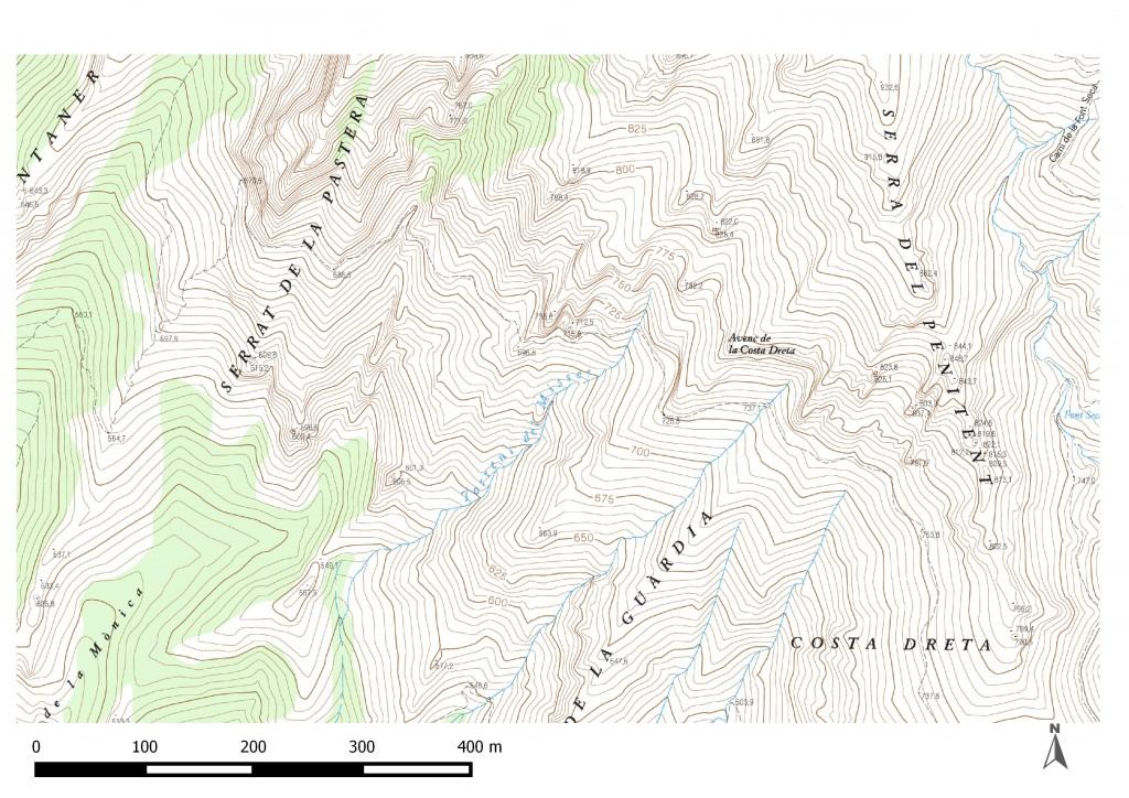 Torrent del Misser. Mapa de l'Institut Cartogràfic i Geològic de Catalunya 2016
