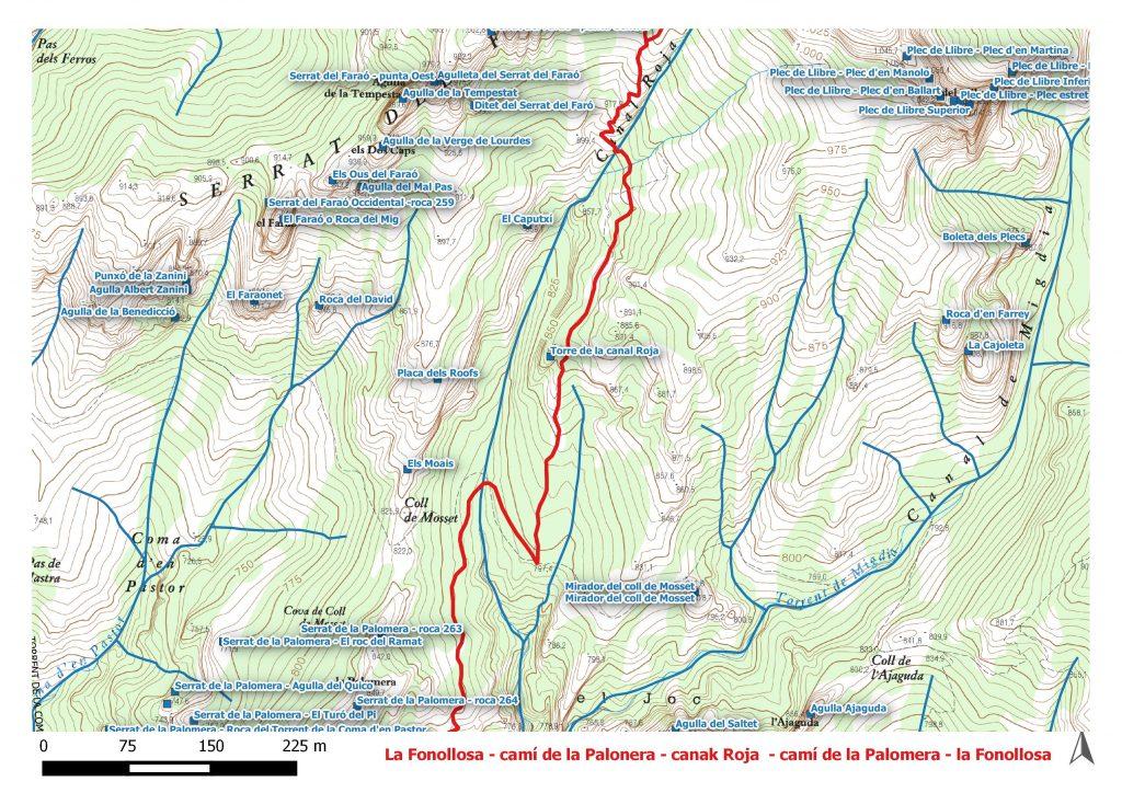 La Fonollosa - camí de la Palaonera - canal Roja - camí de la Palomera - la Fonollosa. Cartografia Institut Cartogràfic i Geològic de Catalunya