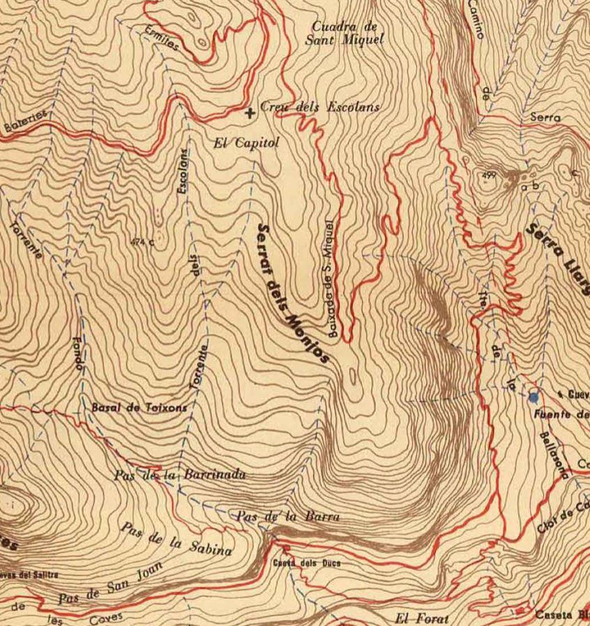 Torrent dels Escolans en el mapa de Ramon de Semir 1949