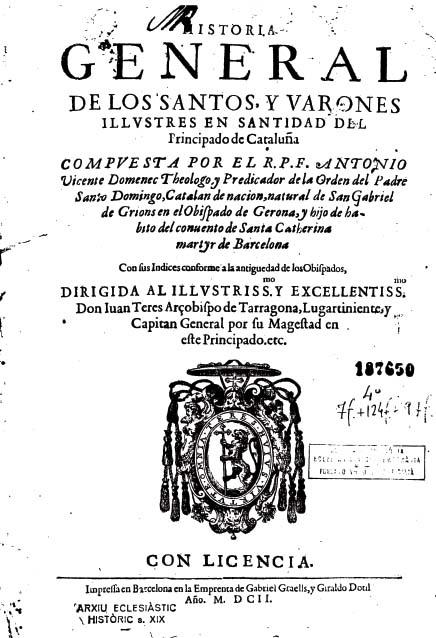 Portada del llibre d'Antonio Vicenç Domenec