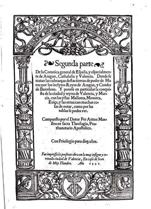 Portada del llibre de Pere Anton Beuter 1554