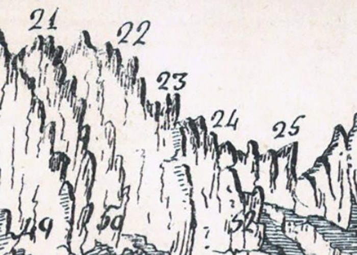 Detall de la litografia de Jaume Estela publicada a la revista Montserrat, 1907. Litografia de la col·lecció de la Biblioteca del monestir de Santa Maria de Montserrat